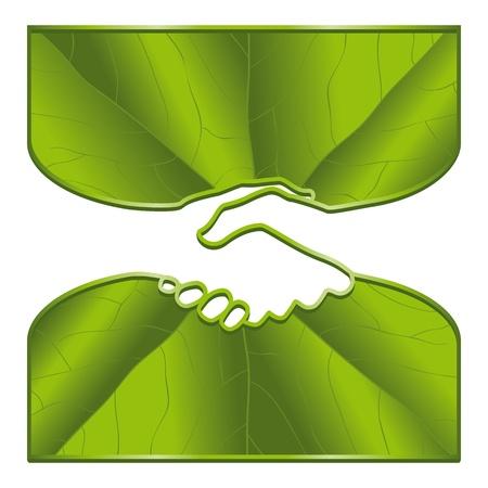 Un apretón de manos ecológico con superficies de las hojas.