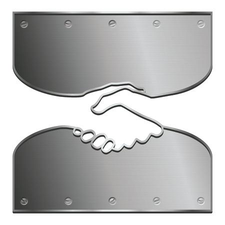 An ironclad handshake illustrating a long-term agreement. Vettoriali