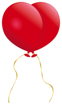 Two passing red balloons form the shape of a heart. Illustration