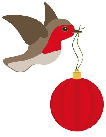 Een roodborstje in de vlucht met een rode kerst bol