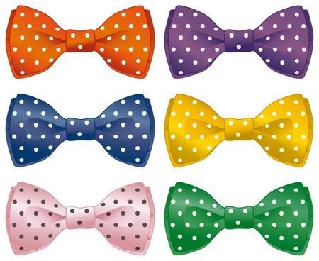 tie bow: Un insieme di legami polka dot arco Vettoriali
