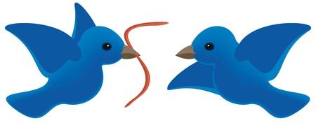oiseau dessin: Oiseau t�t obtient le ver et r�pond � un concurrent Illustration