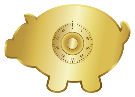Golden piggy bank icon with a combination lock  Vector
