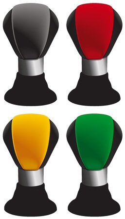 Stick shift icons in red, yellow, green and black. Vector