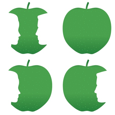agachado: Perfiles masculinos y femeninos mordida de una manzana verde.