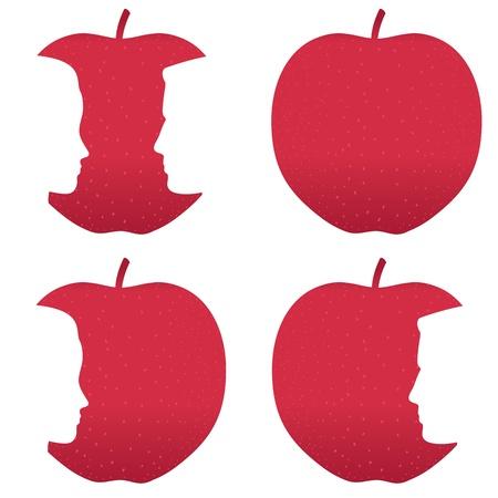 남성과 여성의 프로필은 빨간 사과 중 물린.