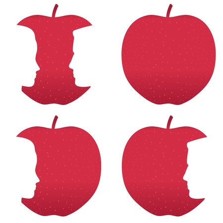 agachado: Perfiles masculinos y femeninos mordida de una manzana roja. Vectores