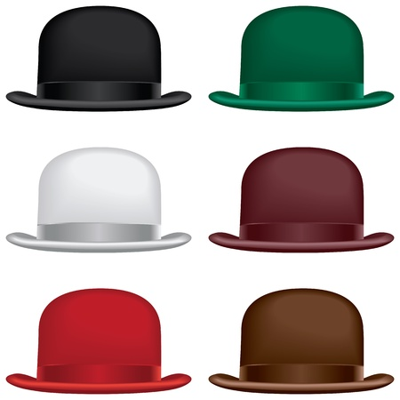 british man: A bowler or derby hat selection in black, gray, red, green, burgundy and brown colors