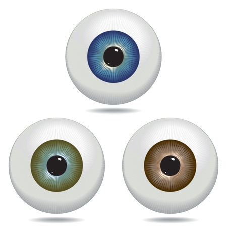 Illustrated eyeballs in blue, green and brown.