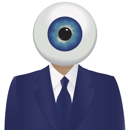 spyware: Big brother watching with a large eyeball and a blue suit. Illustration