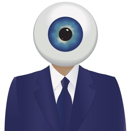 spyware: El hermano mayor mirando con un ojo grande y un traje azul.