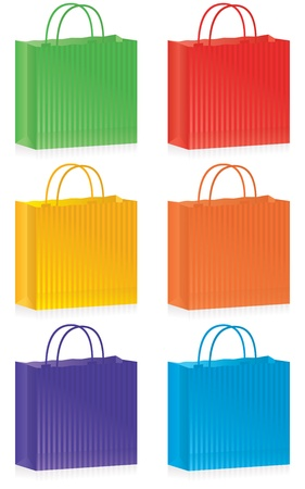 A selection of striped shopping bags in bright colors