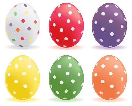 A selection of colored polka dot eggs. Stock Vector - 18688018