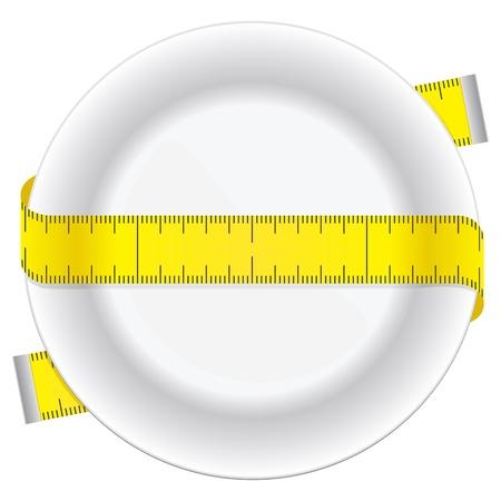 測定テープと概念食事アイコンとしてプレート