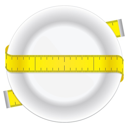 Measuring tape and plate as a conceptual diet icon
