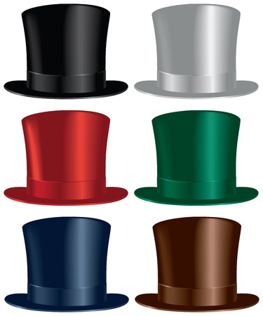 A top hat selection in black, gray, red, green, blue and brown colors. Stock Vector - 18977249