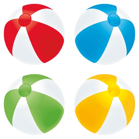 A selection of beach balls in basic colors isolated on white