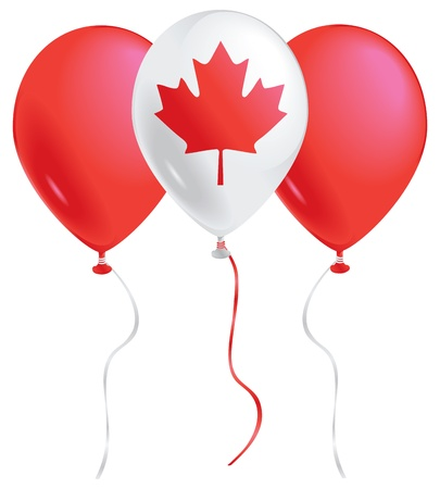 Red and white balloons with the Canadian maple leaf. Vector