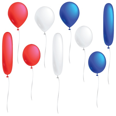 campaigning: A selection of red, white and blue balloons isolated on white