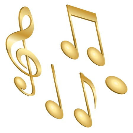 A set of golden musical notes isolated on white. Illustration