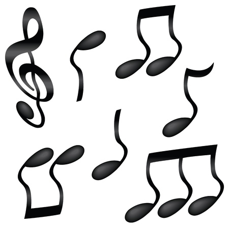 A selection of wavy black musical notes isolated on white.