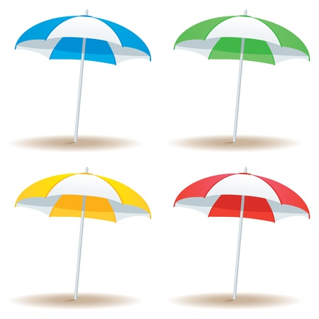 A selection of beach umbrellas in basic colors isolated on white