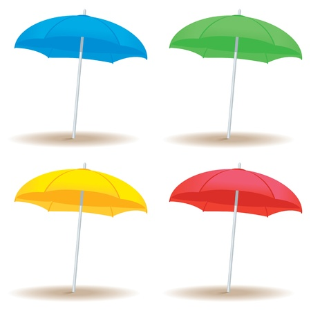 A collection of beach umbrellas in solid colors