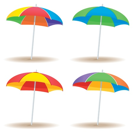 A group of beach umbrellas in multiple colors isolated on white