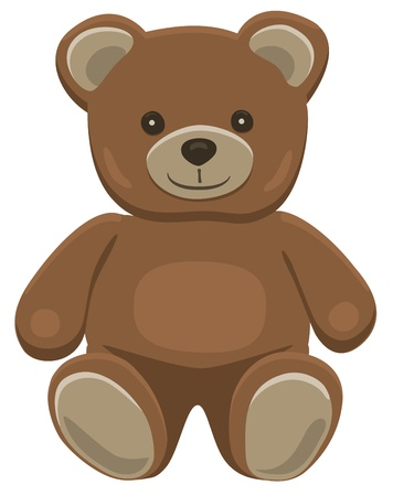 stuffed animals: Basic brown teddy bear in solid colors on white.  Illustration