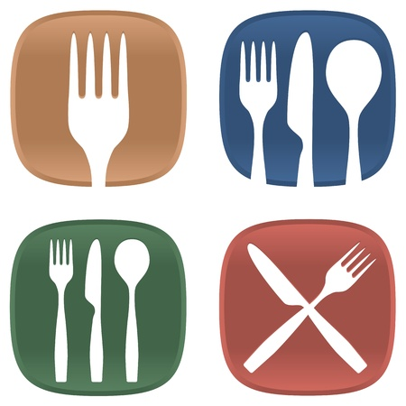 A selection of dining symbols with cutlery and plates in several colours.