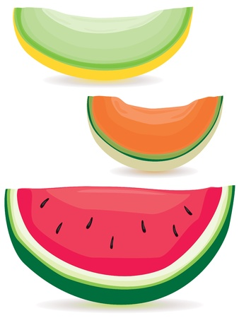 A selection of honeydew, cantaloupe and watermelon slices.