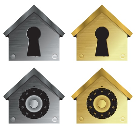 Home security icons with combination locks and keyholes in metallic colors.