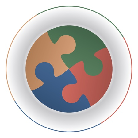 Jigsaw puzzle pieces on a plate as elements of a diet and reminiscent of mouths.