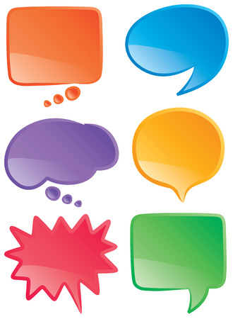 A set of speech and thought bubbles in various colors.