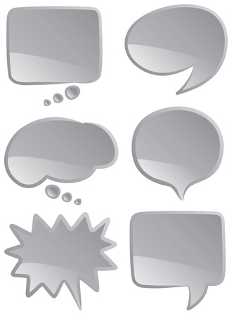 A selection of speech and thought bubbles in monochromatic coloring.