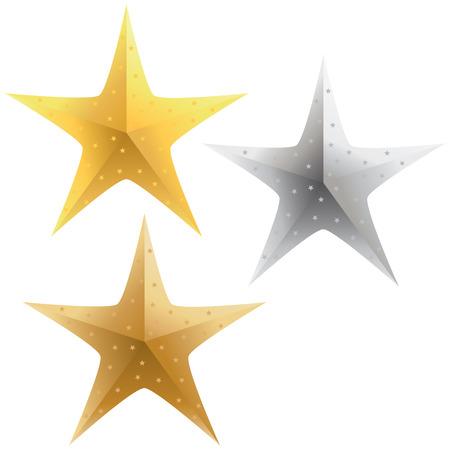 選択、輝く金の銀および青銅色の星。