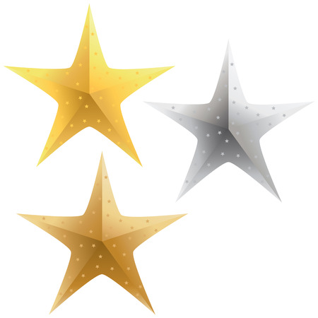 A selection of sparkling gold, silver and bronze stars. Illustration