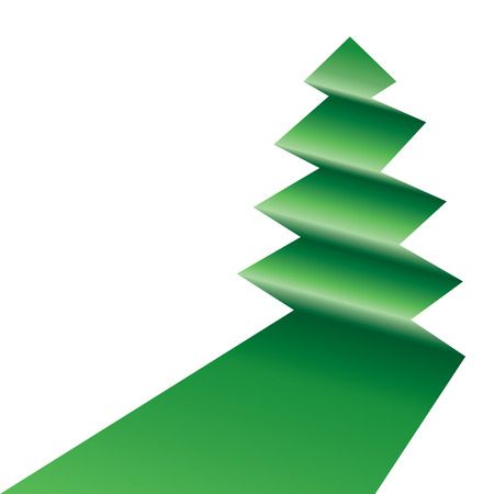 An asymmetric tree icon folded in green on white.   Illustration