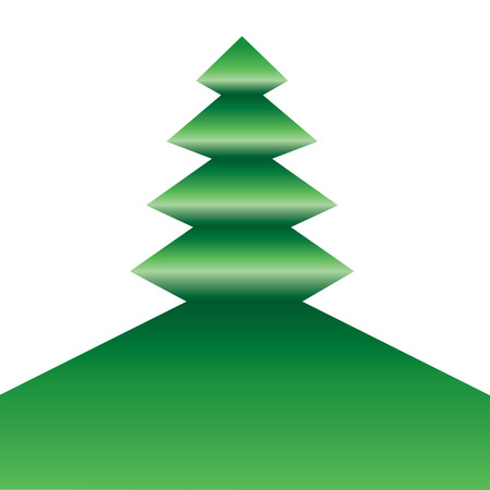 A symmetric tree icon folded in green on white.  Vettoriali