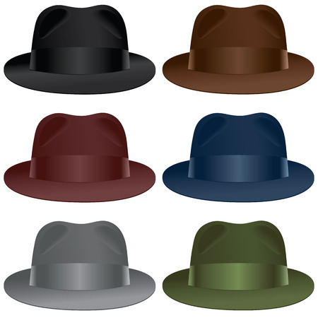 A fedora hat selection in black, gray, burgundy, olive, blue and brown colors. Vettoriali