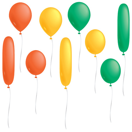 A selection of orange, yellow and green balloons isolated on white.