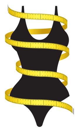 Cinta y figura femenina de medición como un icono de la dieta conceptual.