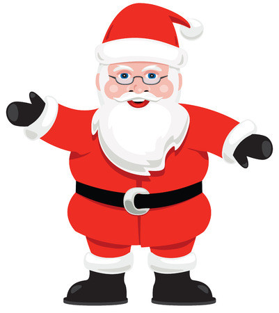 A graphic Santa Claus isolated on white. Vettoriali