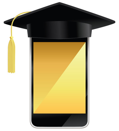 A smart phone wearing a graduation hat.