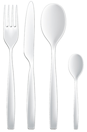 dining set: A set of modern dining utensils isolated on white. Illustration