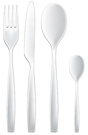 A set of modern dining utensils isolated on white. Vettoriali