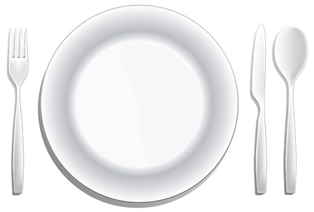 A modern place setting isolated on white.