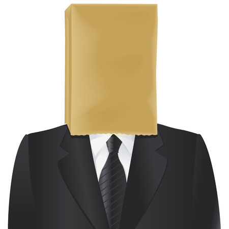Paper bag on the head of charcoal suited man isolated on white. Vettoriali