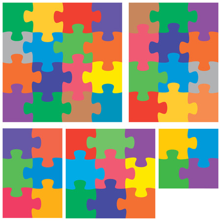 A colorful variety of flat jigsaw puzzles. Vettoriali