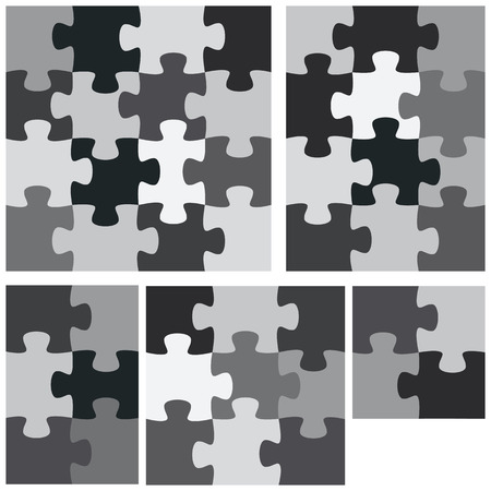 A monochromatic group of flat jigsaw puzzles. Vettoriali
